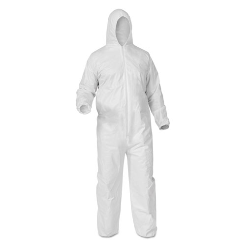 A35 Liquid and Particle Protection Coveralls, Hooded, X-Large, White, 25/Carton. Picture 1