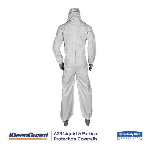A35 Liquid and Particle Protection Coveralls, Hooded, X-Large, White, 25/Carton. Picture 3