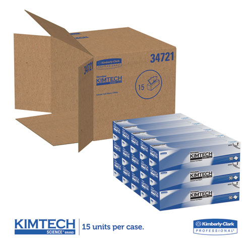 Kimwipes Delicate Task Wipers, 2-Ply, 14 7/10 x 16 3/5, 90/Box, 15 Boxes/Carton. Picture 2