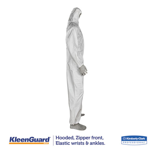 A35 Liquid and Particle Protection Coveralls, Hooded, X-Large, White, 25/Carton. Picture 4