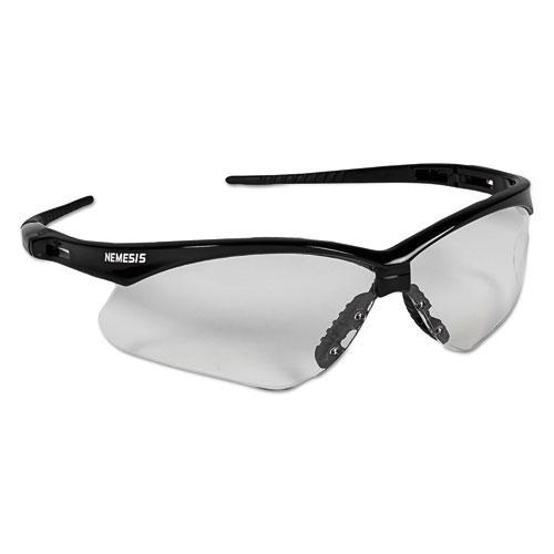 Nemesis Safety Glasses, Black Frame, Clear Lens. Picture 1