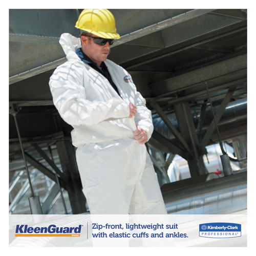 A35 Liquid and Particle Protection Coveralls, Hooded, X-Large, White, 25/Carton. Picture 5