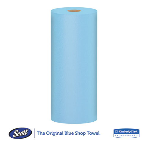 Shop Towels, Standard Roll, 10.4 x 11, Blue, 55/Roll, 30 Rolls/Carton. Picture 5