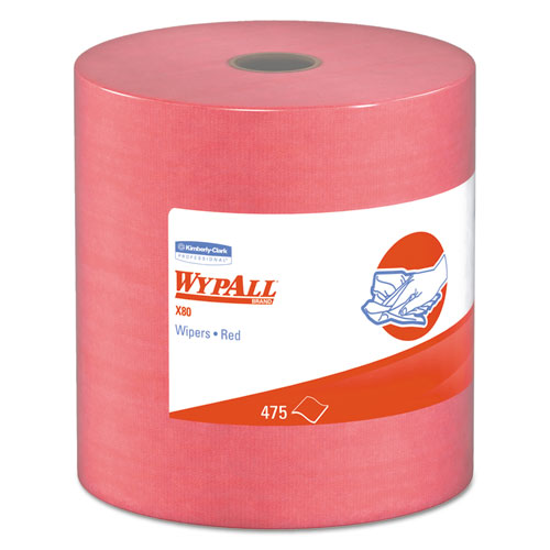 X80 Cloths, HYDROKNIT, Jumbo Roll, 12 1/2 x 13 2/5, Red, 475 Wipers/Roll. Picture 1