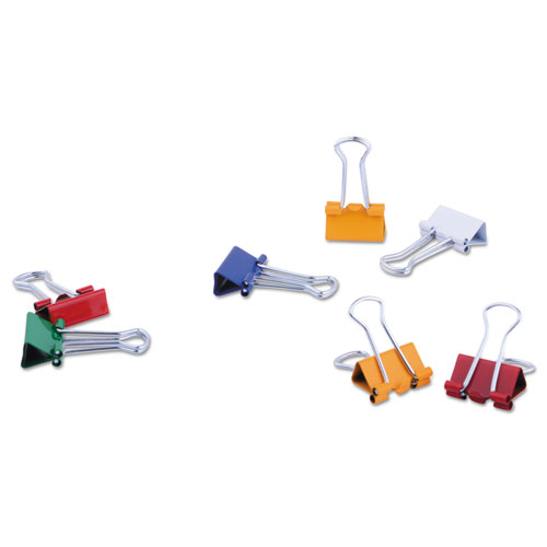 Binder Clips in Dispenser Tub, Mini, Assorted Colors, 60/Pack. Picture 2