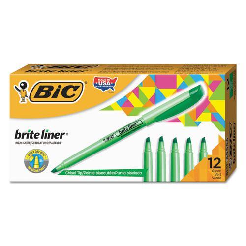 Brite Liner Highlighter, Chisel Tip, Fluorescent Green, Dozen. Picture 1