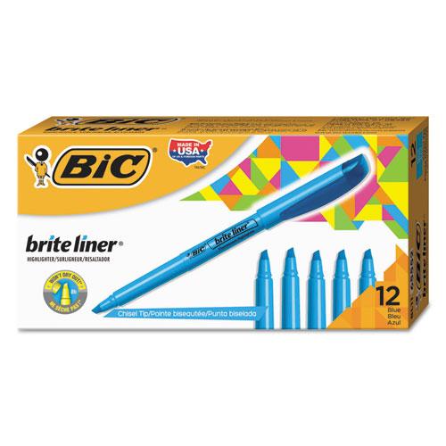 Brite Liner Highlighter, Chisel Tip, Fluorescent Blue, Dozen. Picture 1