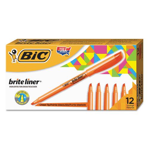 Brite Liner Highlighter, Chisel Tip, Fluorescent Orange, Dozen. Picture 1