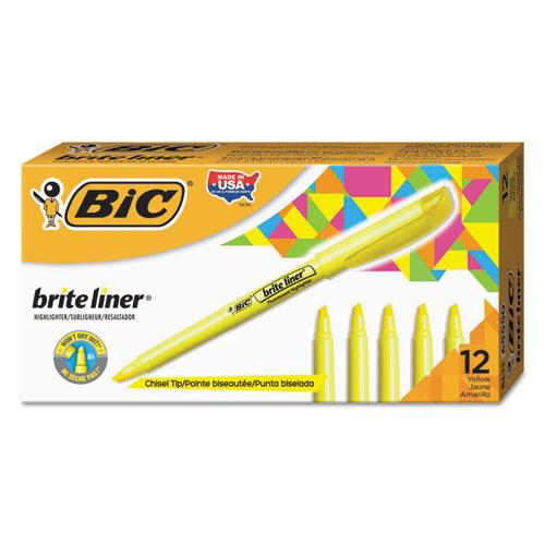 Brite Liner Highlighter, Chisel Tip, Fluorescent Yellow, Dozen. Picture 1