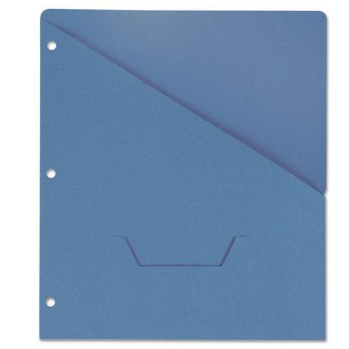Slash-Cut Pockets for Three-Ring Binders, Jacket, Letter, 11 Pt., Blue, 10/Pack. Picture 1