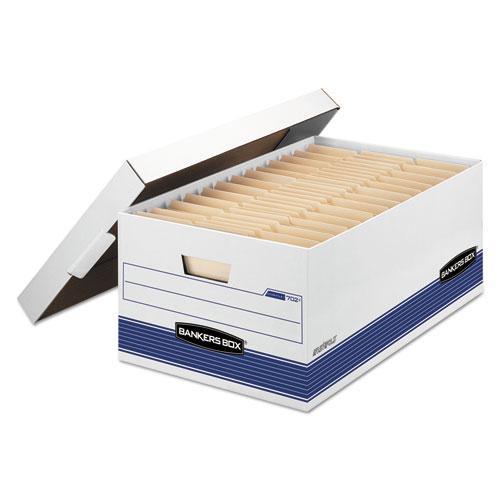 "STOR/FILE Medium-Duty Storage Boxes, Legal Files, 15.88"" x 25.38"" x 10.25"", White/Blue, 4/Carton. Picture 1"