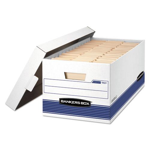 "STOR/FILE Medium-Duty Storage Boxes, Letter Files, 12.88"" x 25.38"" x 10.25"", White/Blue, 12/Carton. Picture 1"