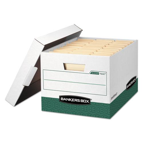 "R-KIVE Heavy-Duty Storage Boxes, Letter/Legal Files, 12.75"" x 16.5"" x 10.38"", White/Green, 12/Carton. Picture 1"