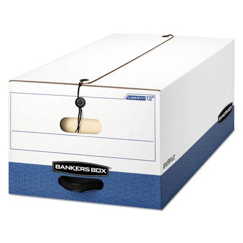 """LIBERTY Heavy-Duty Strength Storage Boxes, Legal Files, 15.25"""" x 24.13"""" x 10.75"""", White/Blue, 4/Carton. Picture 1"""