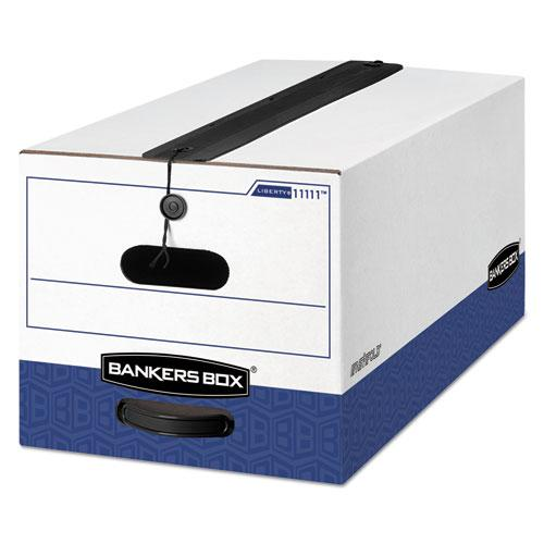 "LIBERTY Plus Heavy-Duty Strength Storage Boxes, Letter Files, 12.25"" x 24.13"" x 10.75"", White/Blue, 12/Carton. Picture 1"