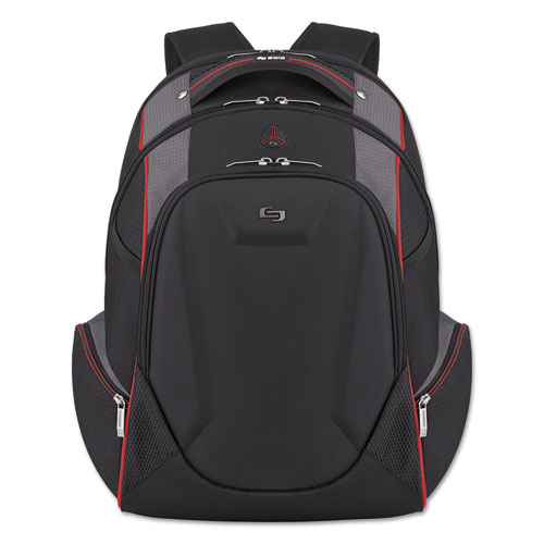 "Launch Laptop Backpack, 17.3"", 12 1/2 x 8 x 19 1/2, Black/Gray/Red. Picture 1"