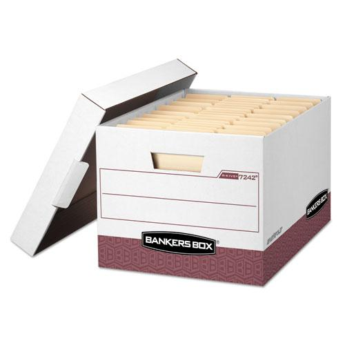 """R-KIVE Heavy-Duty Storage Boxes, Letter/Legal Files, 12.75"""" x 16.5"""" x 10.38"""", White/Red, 12/Carton. Picture 1"""