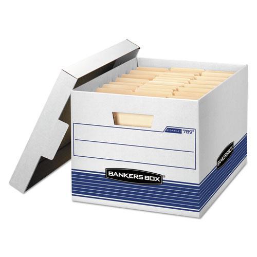 "STOR/FILE Medium-Duty Letter/Legal Storage Boxes, Letter/Legal Files, 12.75"" x 16.5"" x 10.5"", White/Blue, 12/Carton. Picture 1"