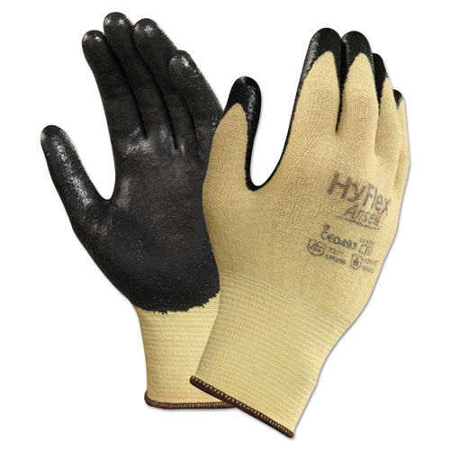 HyFlex CR Gloves, Size 7, Yellow/Black, Kevlar/Nitrile, 24/Pack. Picture 1