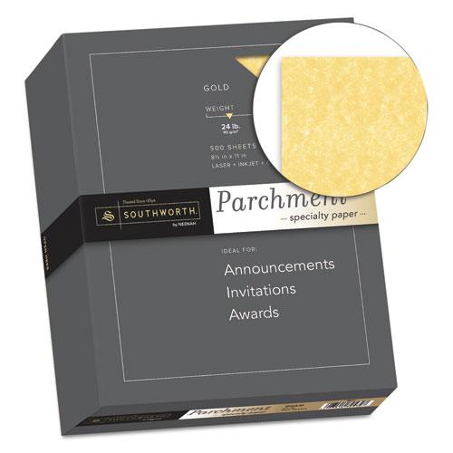 Parchment Specialty Paper, 24 lb, 8.5 x 11, Gold, 500/Ream. Picture 2