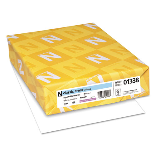 CLASSIC CREST Stationery, 93 Bright, 24 lb, 8.5 x 11, Avon White, 500/Ream. Picture 1
