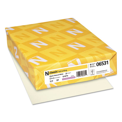 CLASSIC Laid Stationery, 24 lb, 8.5 x 11, Classic Natural White, 500/Ream. Picture 1