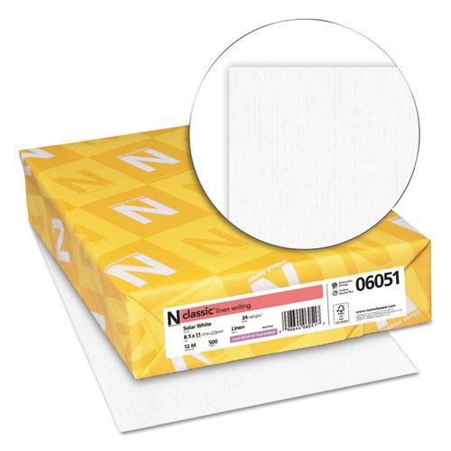 CLASSIC Linen Stationery, 97 Bright, 24 lb, 8.5 x 11, Solar White, 500/Ream. Picture 2