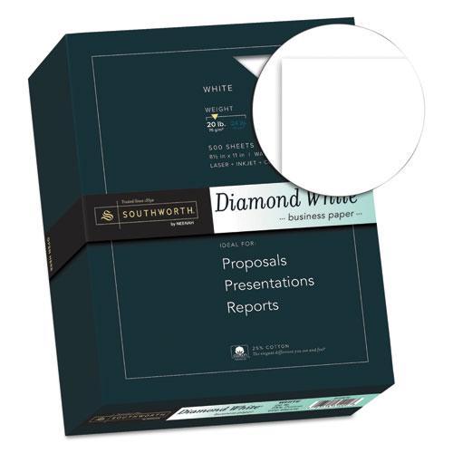 25% Cotton Diamond White Business Paper, 95 Bright, 20 lb, 8.5 x 11, 500/Ream. Picture 2