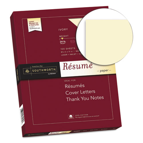 100% Cotton Resume Paper, 24 lb, 8.5 x 11, Ivory, 100/Pack. Picture 2