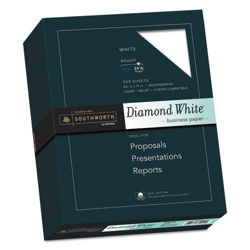 25% Cotton Diamond White Business Paper, 95 Bright, 24 lb, 8.5 x 11, 500/Ream. Picture 1