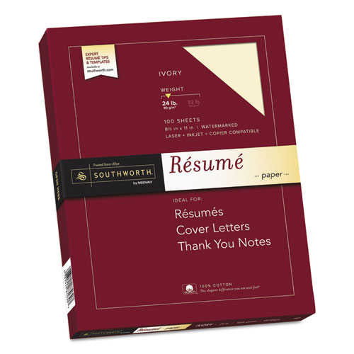100% Cotton Resume Paper, 24 lb, 8.5 x 11, Ivory, 100/Pack. Picture 1