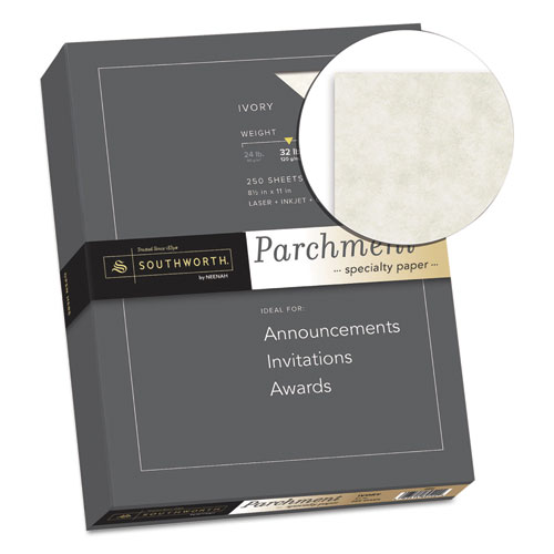 Parchment Specialty Paper, 32 lb, 8.5 x 11, Ivory, 250/Pack. Picture 2
