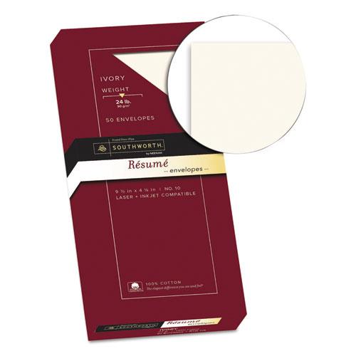 100% Cotton Resume Envelope, #10, Commercial Flap, Gummed Closure, 4.13 x 9.5, Ivory, 50/Box. Picture 2