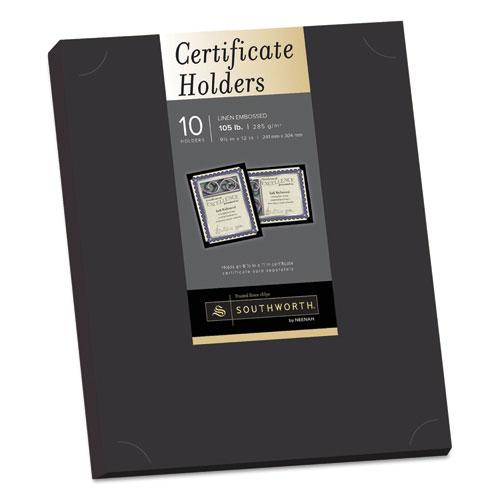 Certificate Holder, Black, 105lb Linen Stock, 12 x 9 1/2, 10/Pack. Picture 1