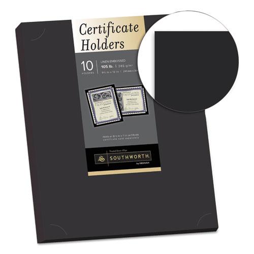 Certificate Holder, Black, 105lb Linen Stock, 12 x 9 1/2, 10/Pack. Picture 2