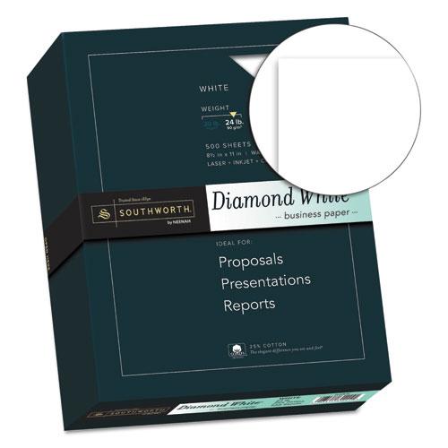 25% Cotton Diamond White Business Paper, 95 Bright, 24 lb, 8.5 x 11, 500/Ream. Picture 2