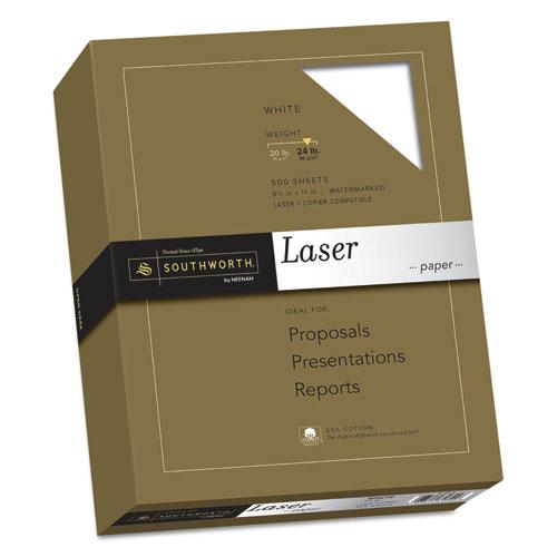 25% Cotton Laser Paper, 95 Bright, 24 lb, 8.5 x 11, White, 500/Ream. Picture 1