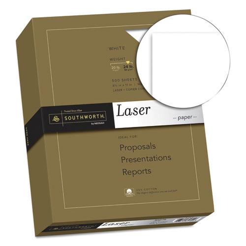 25% Cotton Laser Paper, 95 Bright, 24 lb, 8.5 x 11, White, 500/Ream. Picture 2