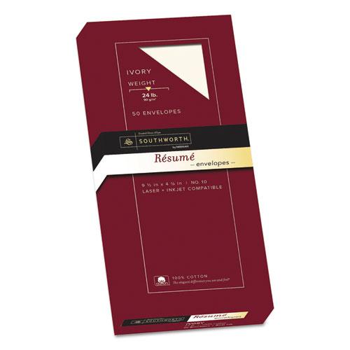 100% Cotton Resume Envelope, #10, Commercial Flap, Gummed Closure, 4.13 x 9.5, Ivory, 50/Box. Picture 1