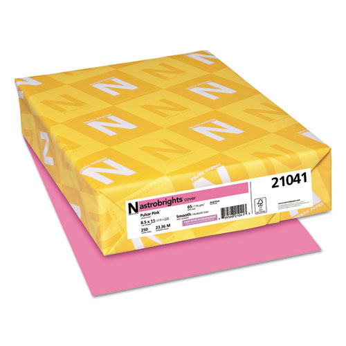 Color Cardstock, 65 lb, 8.5 x 11, Pulsar Pink, 250/Pack. Picture 1