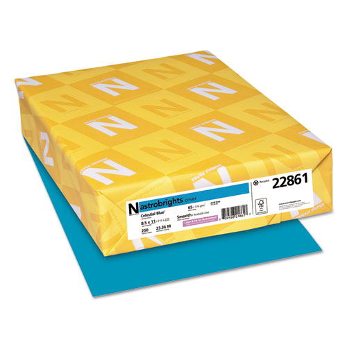 Color Cardstock, 65 lb, 8.5 x 11, Celestial Blue, 250/Pack. Picture 1