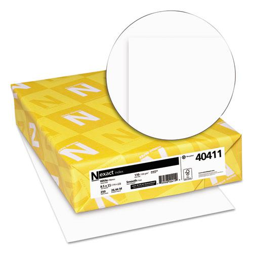 Exact Index Card Stock, 94 Bright, 110 lb, 8.5 x 11, White, 250/Pack. Picture 2
