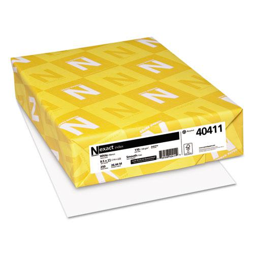Exact Index Card Stock, 94 Bright, 110 lb, 8.5 x 11, White, 250/Pack. Picture 1