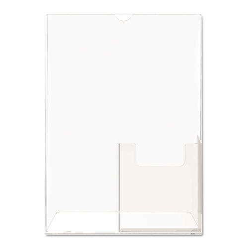 Superior Image Slanted Sign Holder with Front Pocket, 9w x 4.5d x 10.75h, Clear. Picture 2