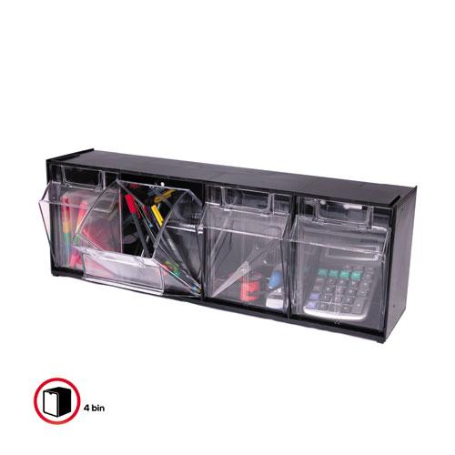 "Tilt Bin Interlocking Multi-Bin Storage Organizer, 4 Sections, 23.63"" x 6.63"" x 8.13"", Black/Clear. Picture 3"