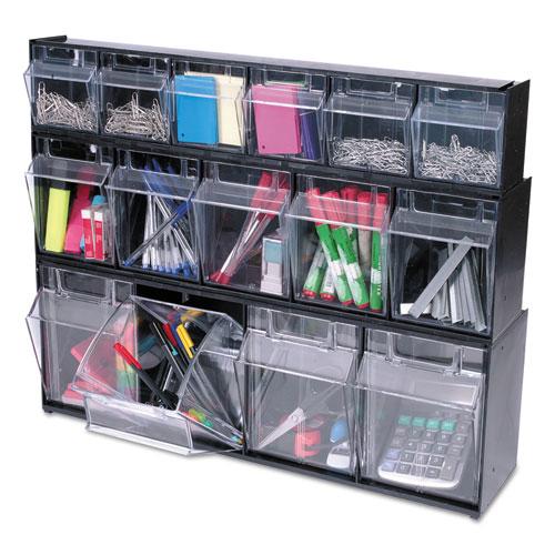 "Tilt Bin Interlocking Multi-Bin Storage Organizer, 5 Sections, 23.63"" x 5.25"" x 6.5"", Black/Clear. Picture 3"