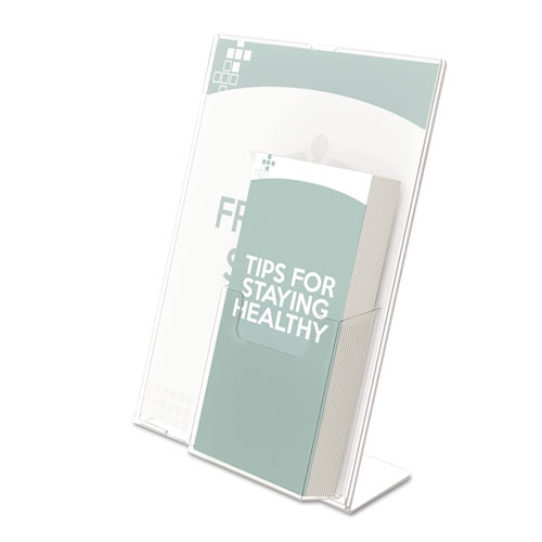 Superior Image Slanted Sign Holder with Front Pocket, 9w x 4.5d x 10.75h, Clear. Picture 3