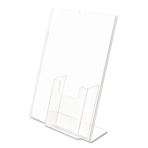 Superior Image Slanted Sign Holder with Front Pocket, 9w x 4.5d x 10.75h, Clear. Picture 4