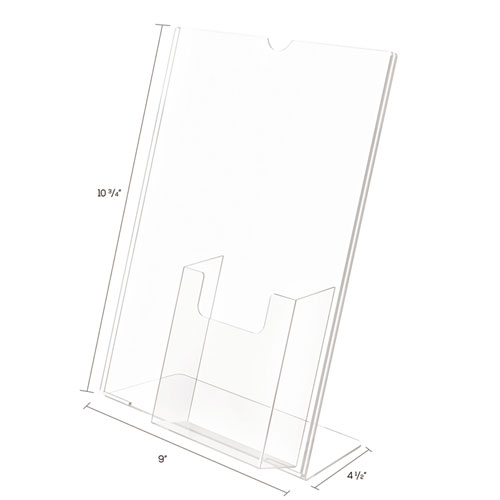 Superior Image Slanted Sign Holder with Front Pocket, 9w x 4.5d x 10.75h, Clear. Picture 5