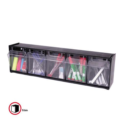 "Tilt Bin Interlocking Multi-Bin Storage Organizer, 5 Sections, 23.63"" x 5.25"" x 6.5"", Black/Clear. Picture 4"